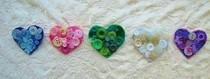 Button Heart Brooches