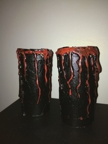 Blood Dripping Candle Holder, (Kitchen Roll And Hot Glue)