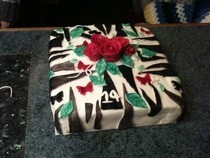 Zebra Rose Birthday Cake