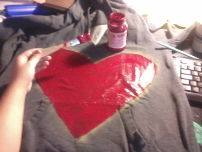How to embellish an embellished sweater. Glitter Heart Sweater - Step 3