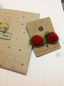 Needle Felting Rose Earings