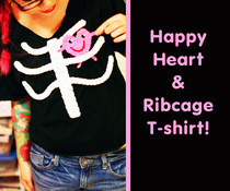 Happy Heart &amp; Ribcage T Shirt