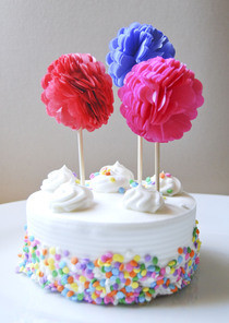Tissue Paper Cupcake Pom Poms