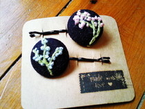 Embroidered Button Bobby Pins