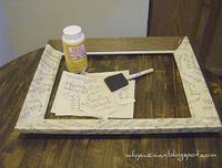 How to decopage a decoupage photo frame. Vintage Sheet Music Wooden Frame - Step 2