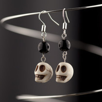 Howlite Skull  Beaded Dangle Earrings