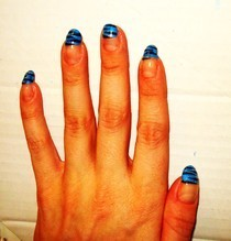 Blue Escape,Glitter & Tiger Print Nails