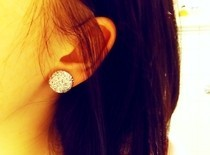 Glitter Button Earrings