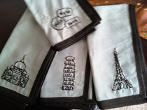 """Around The World"" Hand Embroidered Napkins"