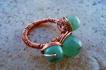 Semi Precious Beaded Copper Ring