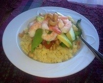 Prawn Avocados &amp; Cashew Salad Served With Couscous