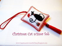 Christmas Cat Cross Stitched Scissor Fob