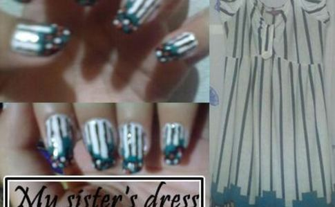 My Sister's Dress Inspired Nail Art