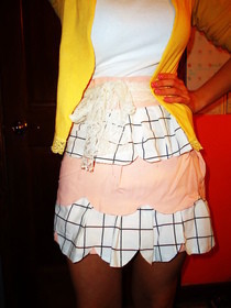 Pink, Black, And White Scallop Skirt