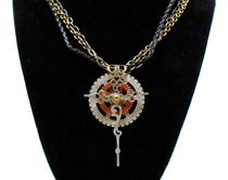  And In This Time We Find Faith   Steampunk Sci Fi Cross Necklace Ooak 18 Inch
