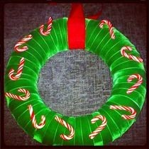 Candy Cane Green Velvet Wreath