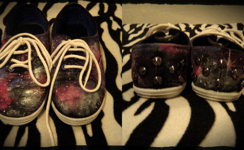 Galaxy Print Shoes With Studs