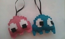 Pacman Ghost Felt Christmas Ornaments