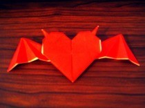 Origami Heart With Horns And Bat Wings