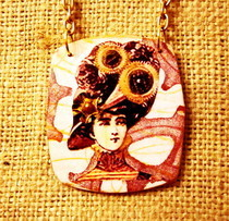 Steampunk Woman Pendant Necklace