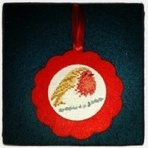 Cross Stitch Robin Decoration 
