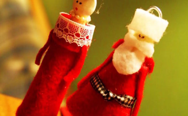 Clothespin Santa And Mrs. Claus Doll Ornaments