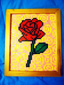 Rose Hama Bead Picture (Framed)