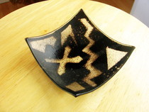 Black & White Slumped Fused Glass Bowl