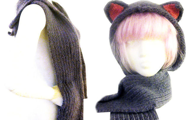 Kitty Hood Scarf With Pockets