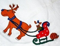 Vintage Holiday Hand Embroidered Table Cloth