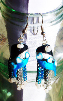 Black And Blue Nailart Earrings!