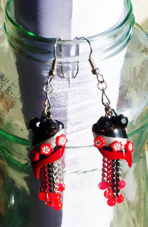 Black And Red Nailart Earrings!