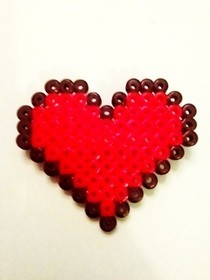 Hama Bead Heart Brooch 