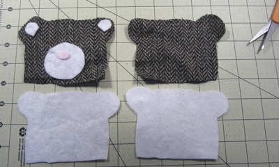 How to sew a fabric animal pouch. Bear Coin Purse - Step 1