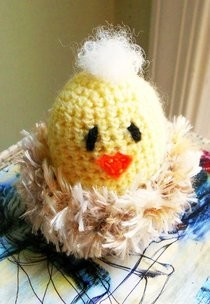 Crocheted Baby Chick In Nest