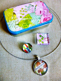 Necklace, Magnets, And Pretty Tin!