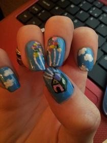 'Up' Themed Nail Art