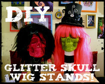 Glitter Skull Wig Stand