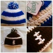 Football Beanie And A Blue And White Beanie 