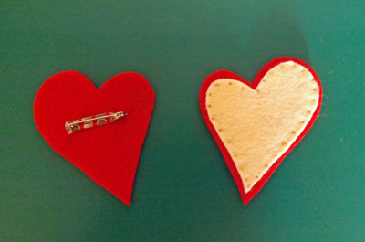 How to make a fabric brooch. Love Heart Brooch - Step 2