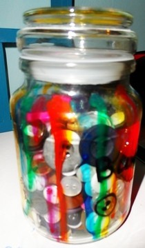 Painted Glass Button Jar