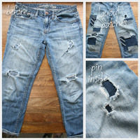 How to sew a pair of patched jeans. Diy Patched Jeans - Step 2