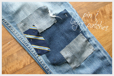 How to sew a pair of patched jeans. Diy Patched Jeans - Step 3