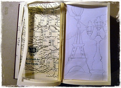 How to make a piece of book art. Paris Book Impression - Step 4