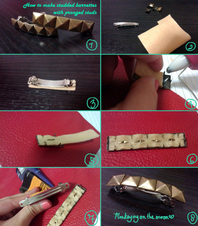 How to make a metal hair clip. Studded Barrette With Pronged Studs - Step 2