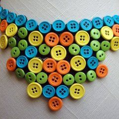 Neon Button Statement Necklace