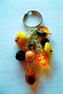 Colourful Beads Keyring With Dice