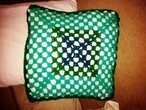 Green Shades Crochet Pillow 1