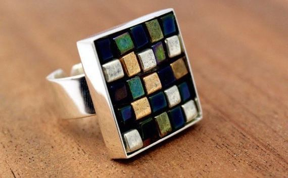 Glass Bead Mosaic Ring
