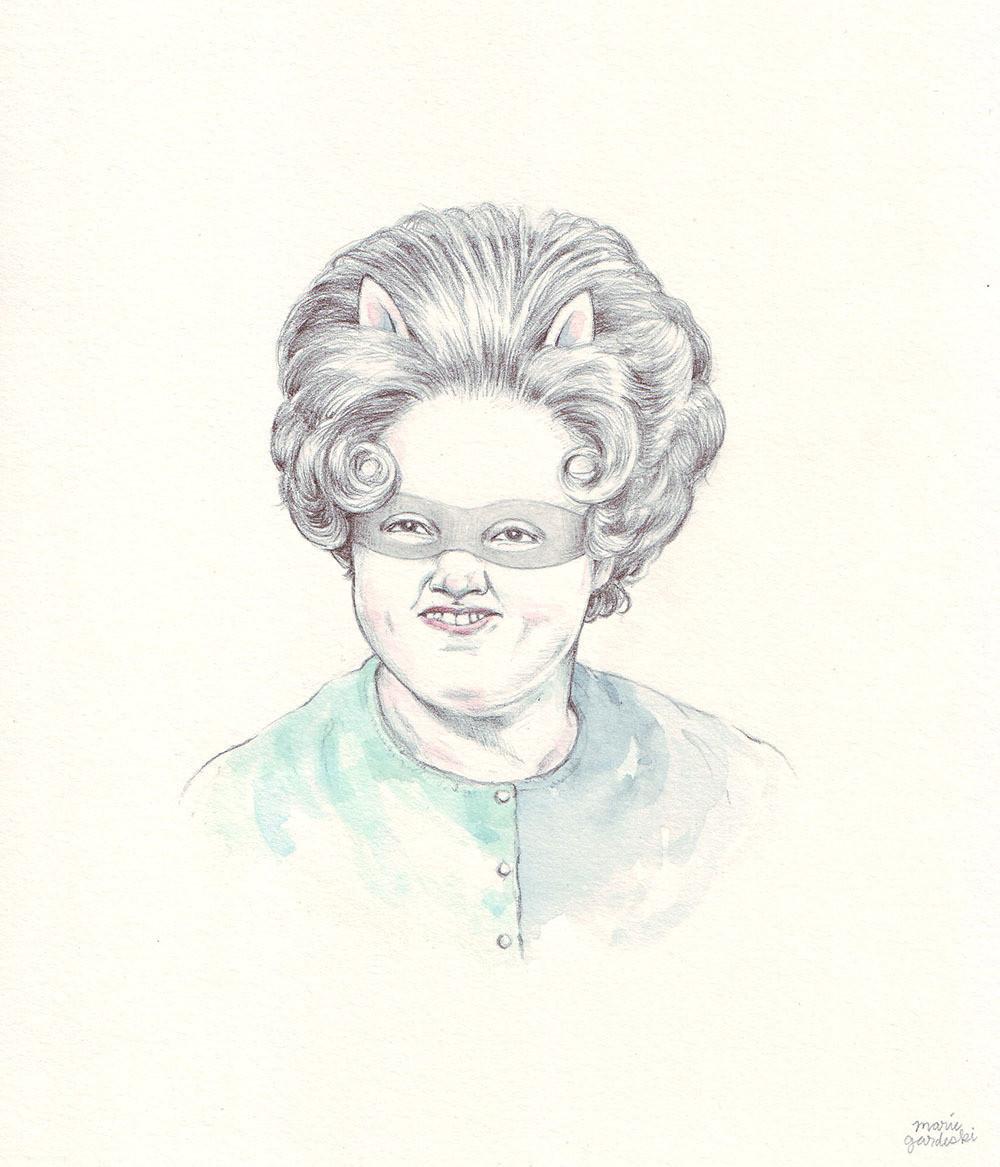 Crafterella portrait pencil watercolor drawing illustration marie gardeski